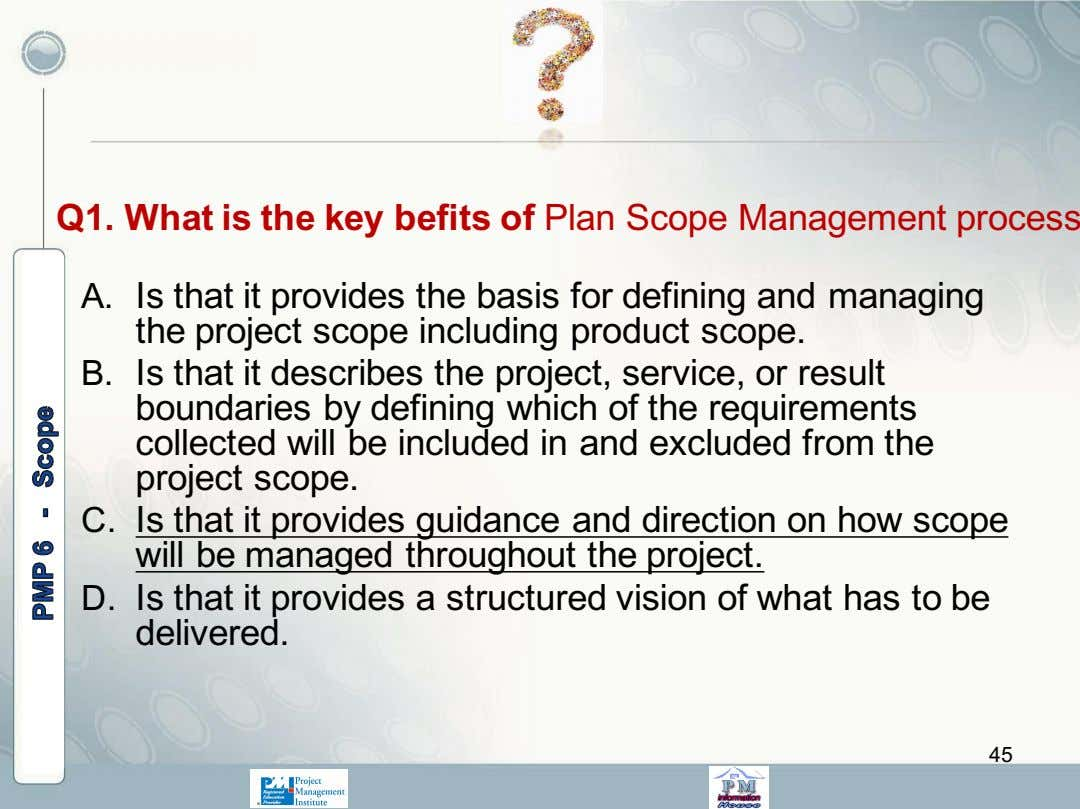 Q1. What is the key befits of Plan Scope Management process A. Is that it