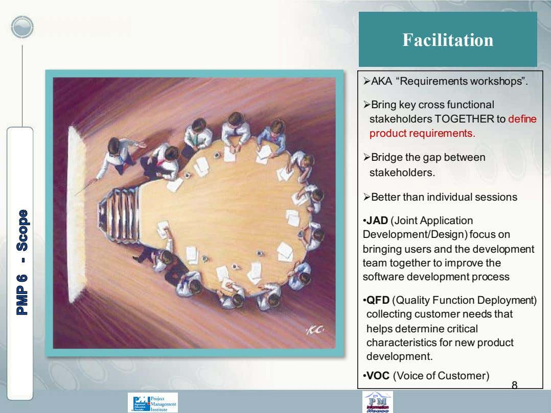 "Facilitation ØAKA ""Requirements workshops"". ØBring key cross functional stakeholders TOGETHER to define product"