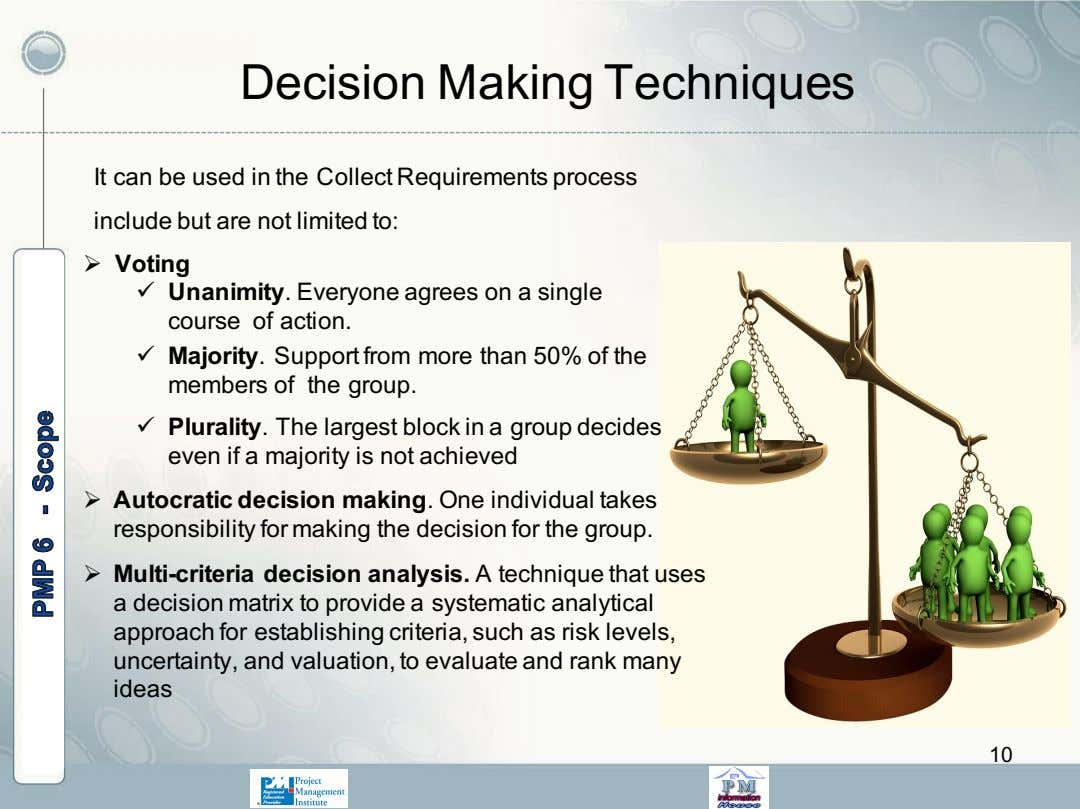 Decision Making Techniques It can be used in the Collect Requirements process include but are