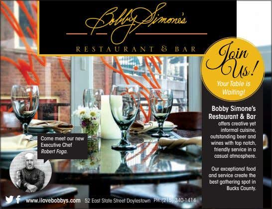 Your Table is Waiting! Bobby Simone's Restaurant & Bar Come meet our new Executive Chef