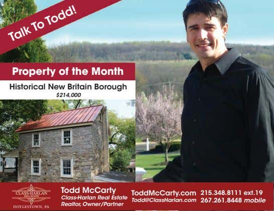 Talk To Todd! Property of the Month Historical New Britain Borough $214,000 Todd McCarty ToddMcCarty.com