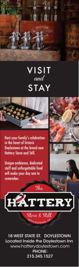 VISIT STAY Host your family's celebration in the heart of historic Doylestown at the brand