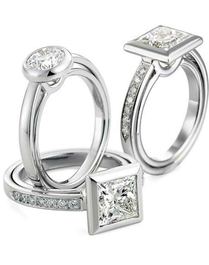 mind for your custom made engagement ring and wedding band. Diamonds in Platinum from the Diana