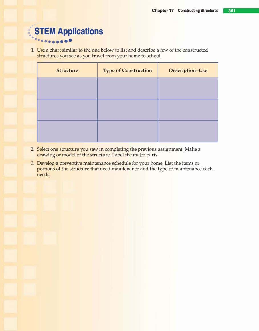 Chapter 17 Constructing Structures 361 STEM Applications 1. Use a chart similar to the one