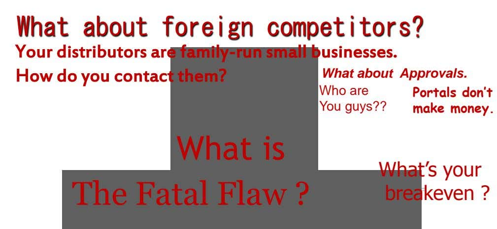 What about foreign competitors? Your distributors are family-run small businesses. How do you contact them? What