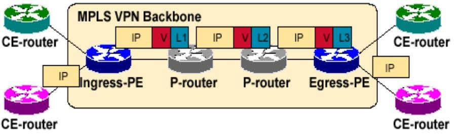 VPN Packet Forwarding Across MPLS VPN Backbone Label VPN packets with a label stack. • Use