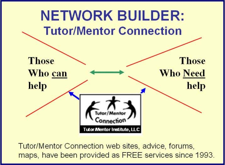 Creating a Network of Purpose: Helping Inner-City Youth from Birth to Work: A Networking Strategy Tutor/Mentor