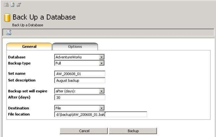 myLittleAdmin for MS SQL Server 6.4. Backup Wizard This wizard will help you back up a