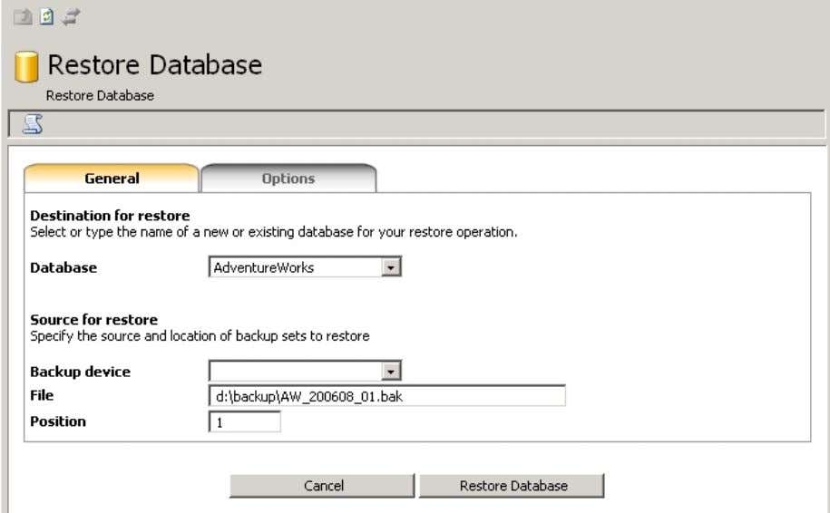 myLittleAdmin for MS SQL Server 6.5. Restore Wizard This wizard will help you restore a database
