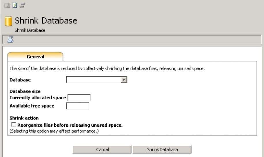 myLittleAdmin for MS SQL Server 6.10. Shrink Database This wizard will help you shrink a database.