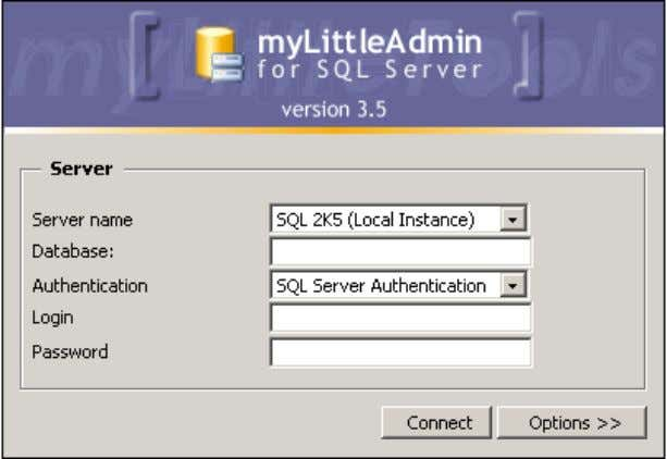 for MS SQL Server 4 B ASIC N AVIGATION 4.1. Connection Two authentication modes are available