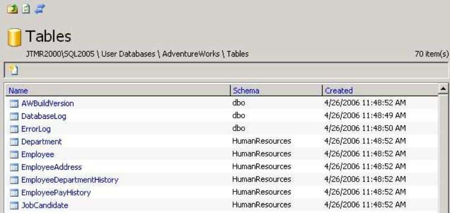 displayed. 4. In the content zone, click on the Tables link. The list of AdventureWorks database