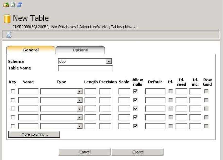click on the icon. The table creation form is now displayed. Start to choose the schema