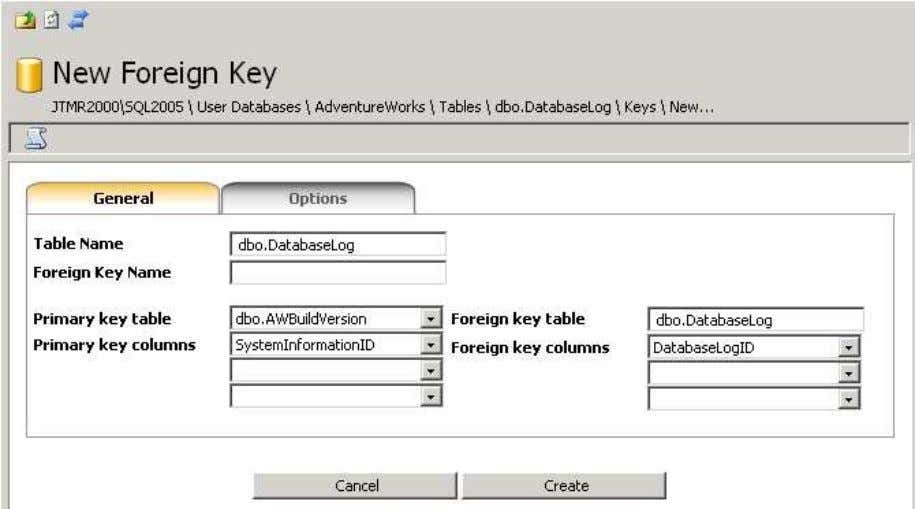 icon. The relationship (foreign key) creation form is Give the foreign key a name Choose the