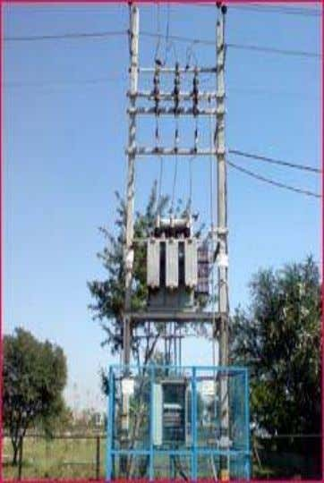 called service transformer, which reduces the feeder voltages (e.g. 15 kV) to levels usable by the