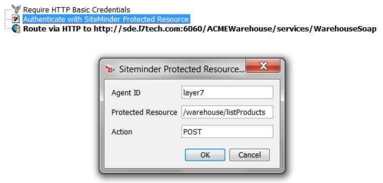 authorized requests to the appropriate backend SOAP service. Figure 2: The SiteMinder Protected Resource assertion