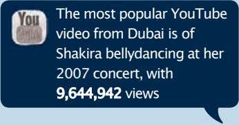 The most popular YouTube video from Dubai is of Shakira bellydancing at her 2007 concert,