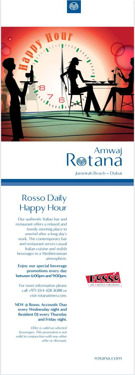 r u o 8 7 H 1/2 AD Rosso Daily Happy Hour Our authentic Italian