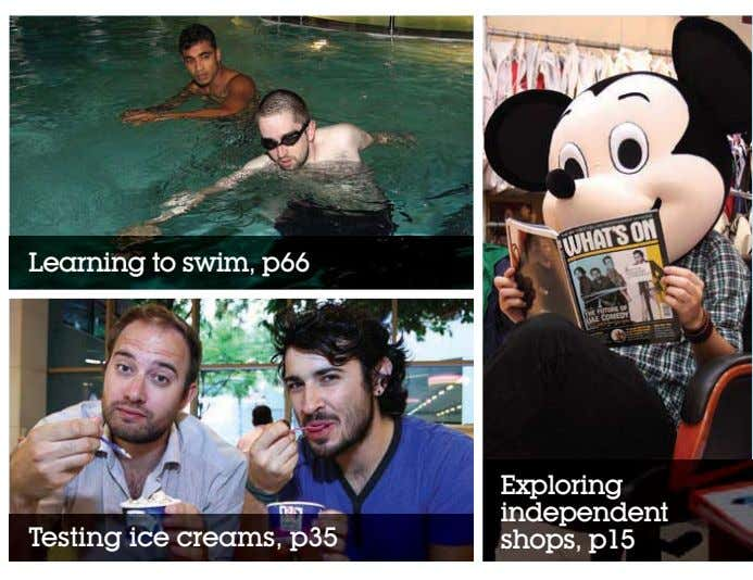 Learning to swim, p66 Exploring independent Testing ice creams, p35 shops, p15