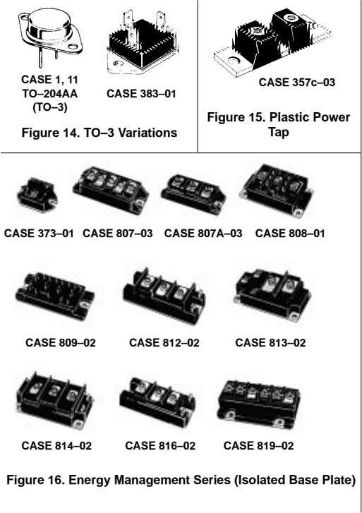 CASE 1, 11 CASE 357c–03 TO–204AA CASE 383–01 (TO–3) Figure 14. TO–3 Variations Figure 15. Plastic