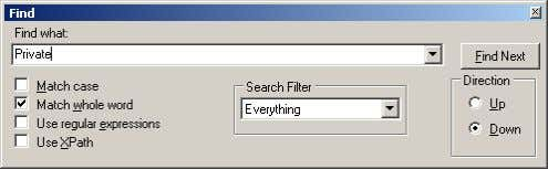 Push Delete button and search again using F3 button, Repeat deleting the Private folder until