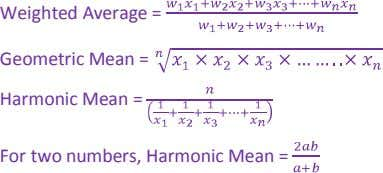 Weighted Average = Geometric Mean = Harmonic Mean = For two numbers, Harmonic Mean =
