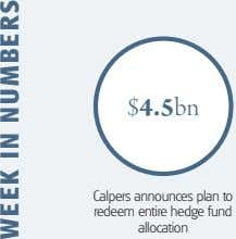 $4.5bn Calpers announces plan to redeem entire hedge fund allocation WEEK IN NUMBERS