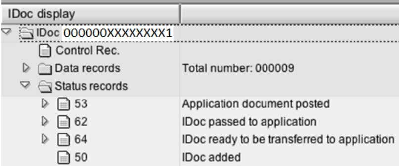 document number can be found by expanding the status node 53 An inbound IDoc goes through