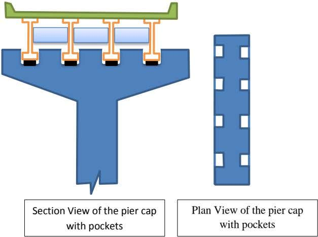 Section View of the pier cap with pockets Plan View of the pier cap with