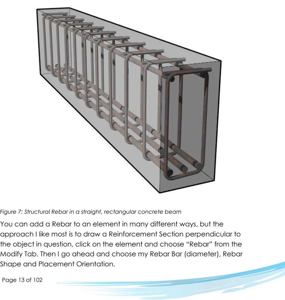 Figure 7: Structural Rebar in a straight, rectangular concrete beam You can add a Rebar