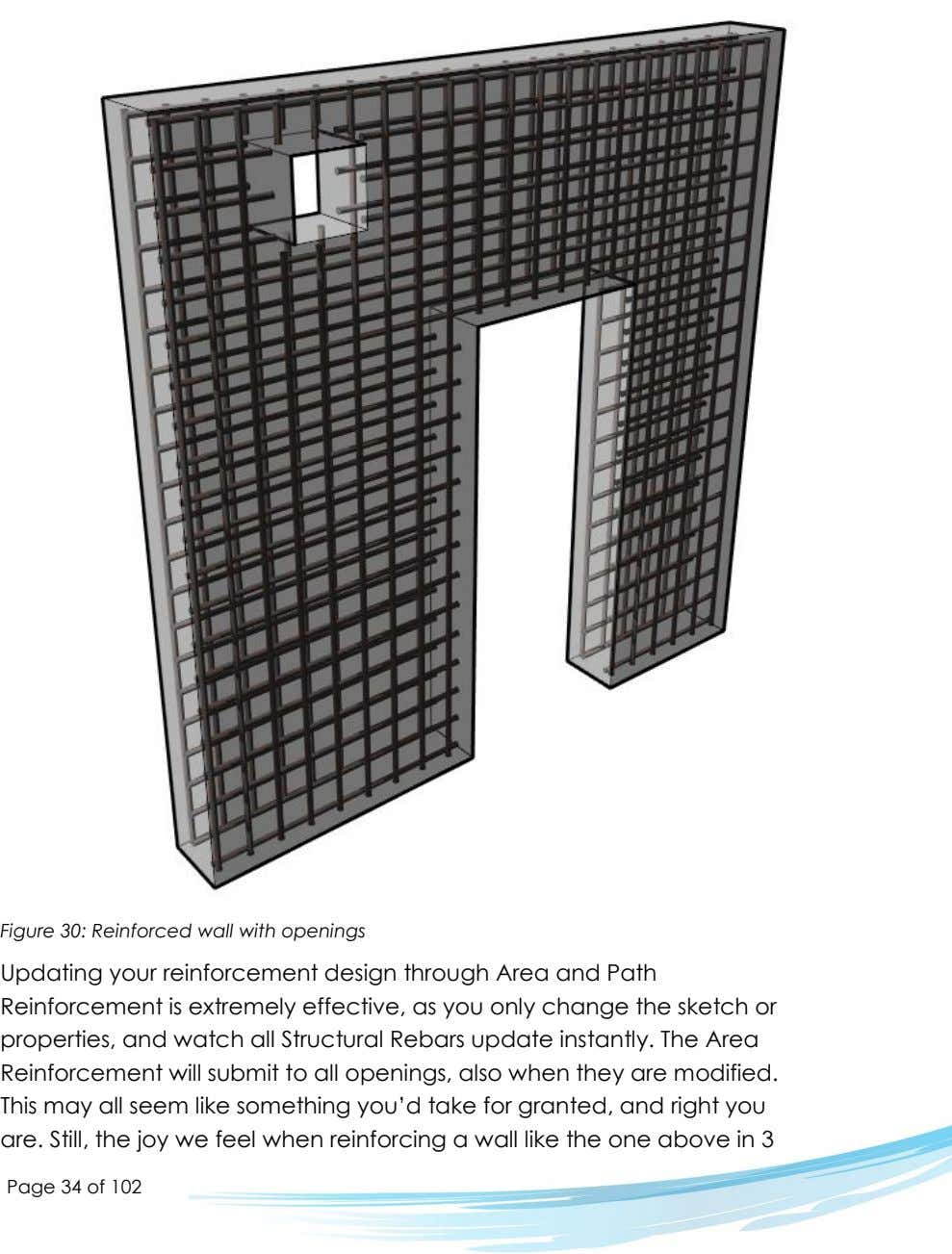 Figure 30: Reinforced wall with openings Updating your reinforcement design through Area and Path Reinforcement