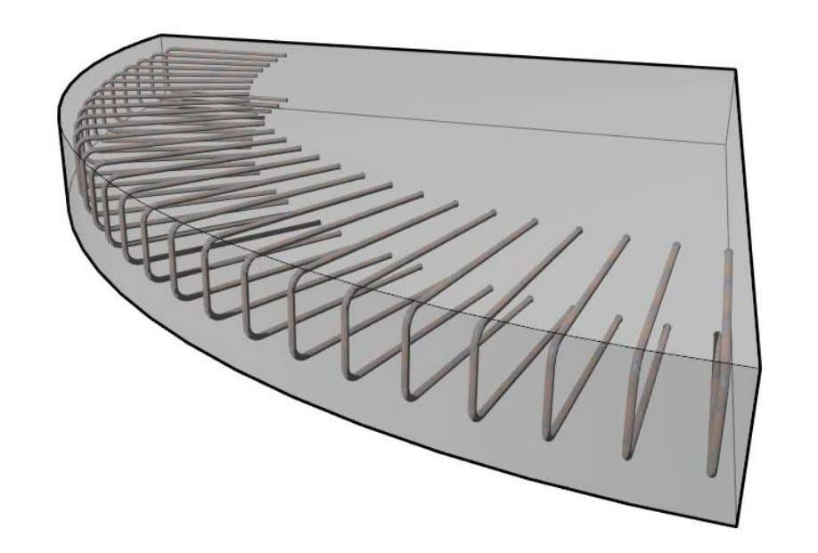 Rebars manually, especially along curved slab edges. Figure 35: Rebar bend distributed along curved slab edge