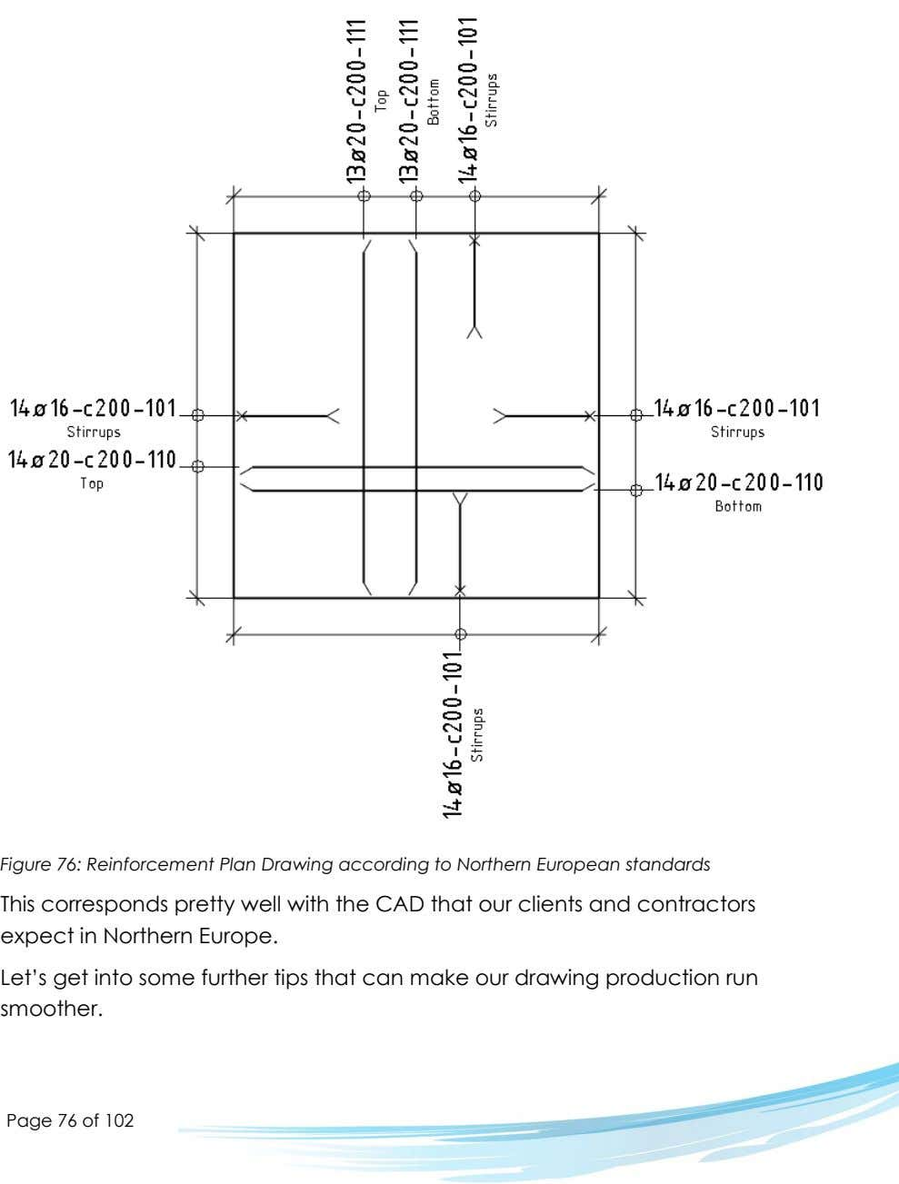 Figure 76: Reinforcement Plan Drawing according to Northern European standards This corresponds pretty well with