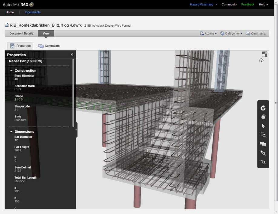 Rebar Modeling in Revit Håvard Vasshaug, Dark Figure 88: 3D DWF viewed on Autodesk 360 using