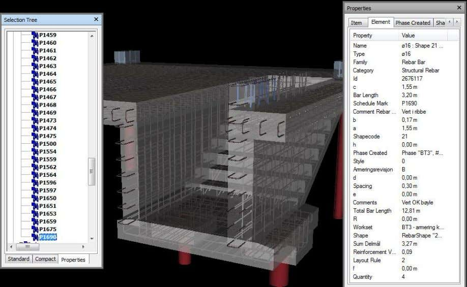 Rebar Modeling in Revit Håvard Vasshaug, Dark Figure 96: Reinforced concrete structure viewed and sorted in