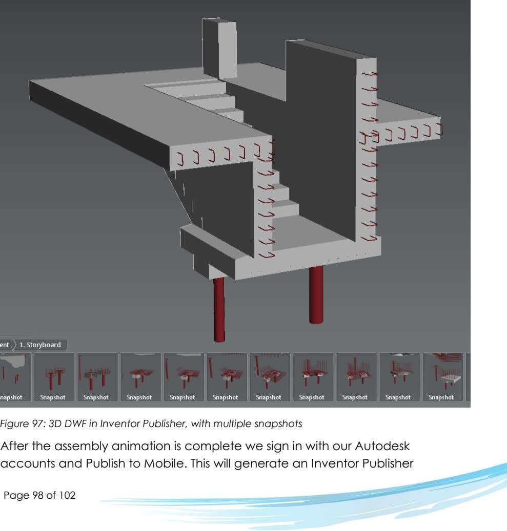 Figure 97: 3D DWF in Inventor Publisher, with multiple snapshots After the assembly animation is
