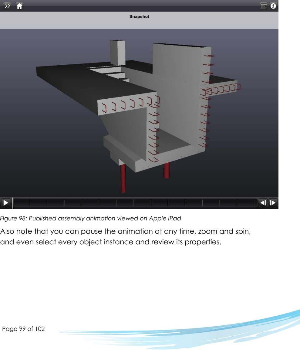 Figure 98: Published assembly animation viewed on Apple iPad Also note that you can pause