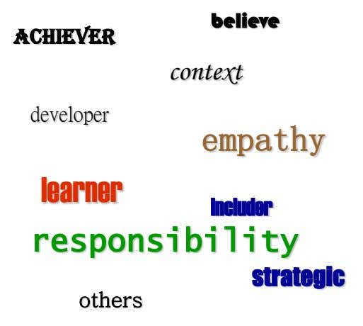 believe achiever context developer empathy learner includer responsibility strategic others