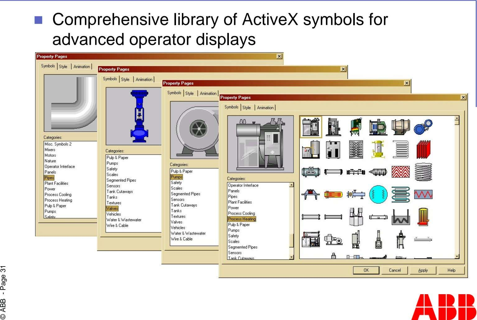 Comprehensive library of ActiveX symbols for advanced operator displays © ABB - Page 31
