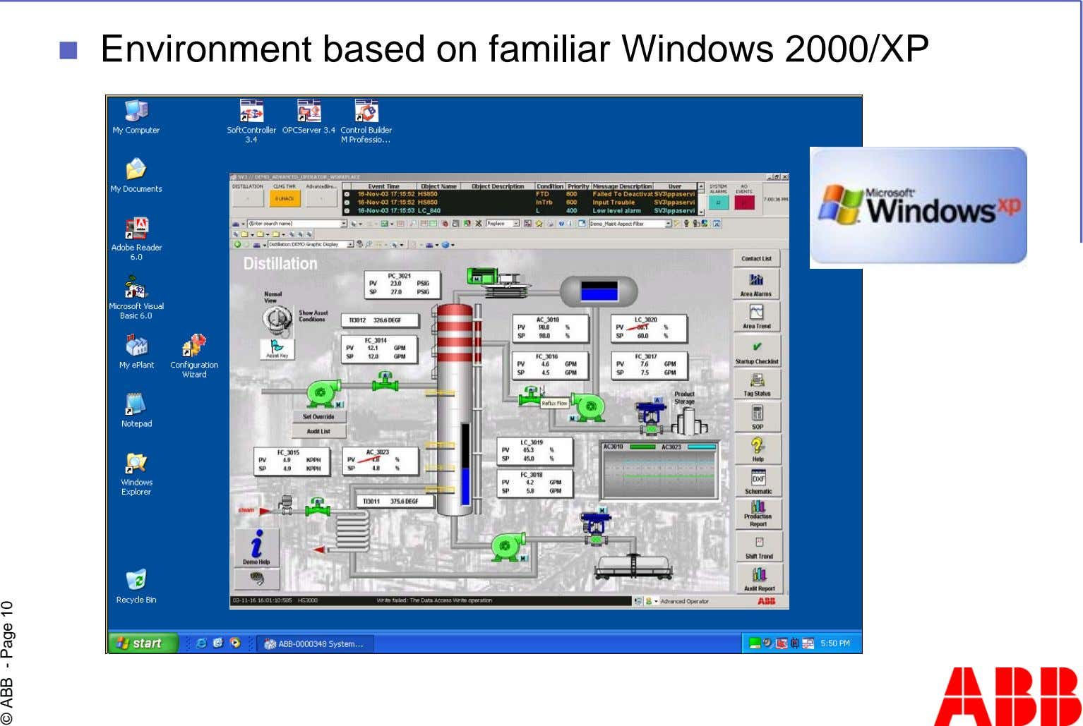 Environment based on familiar Windows 2000/XP © ABB - Page 10
