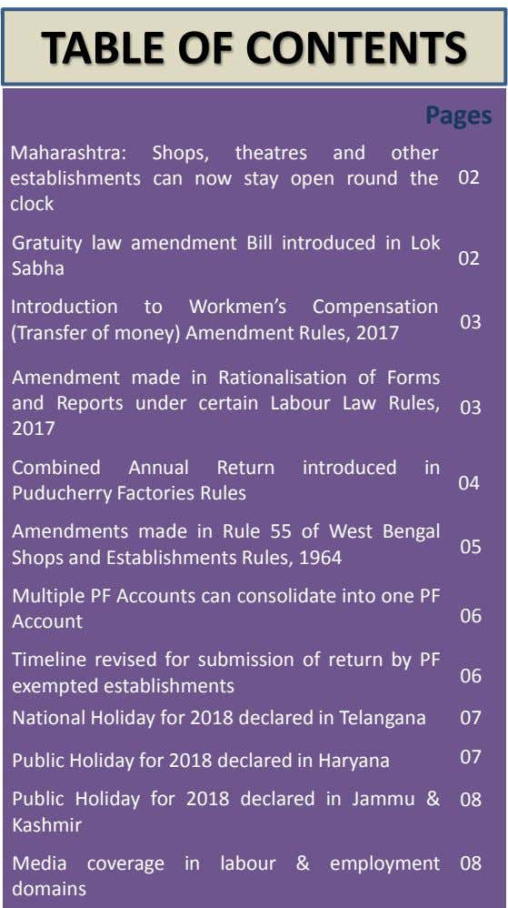 TABLE OF CONTENTS Pages Maharashtra: Shops, theatres and other establishments can now stay open round the