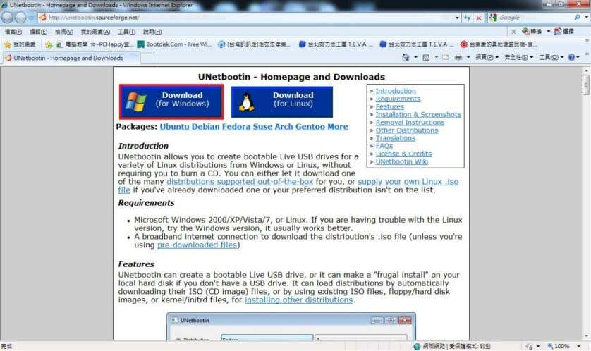 "official website. Press ""Download (for Windows)"" 2. Press ""UNetbootin, Universal Netboot installer"" 3."