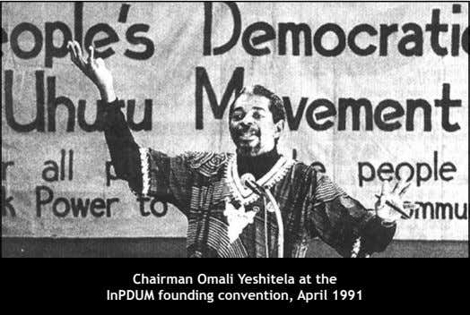 Chairman Omali Yeshitela at the InPDUM founding convention, April 1991