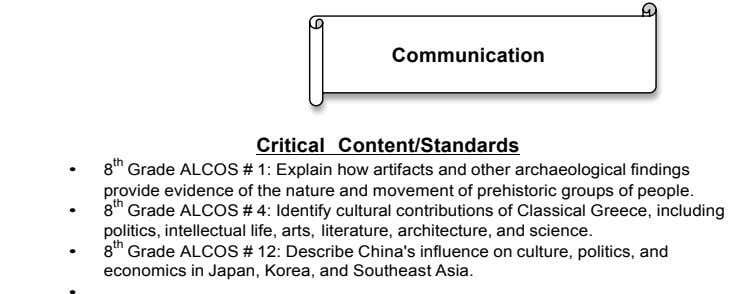 Communication Critical Content/Standards • 8 th Grade ALCOS # 1: Explain how artifacts and other