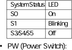System Status LED S0 On S1 Blinking S3/S4/S5 Off • PW (Power Switch):