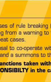 SANCTIONS All cases of rule breaking (excessive speed, mobile telephone use, etc.) will be subject