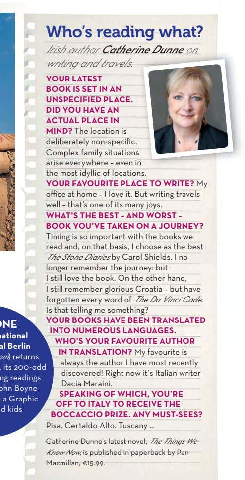 Who's reading what? Irish author Catherine Catherine Dunne Dunne on on writing and travels. YOUR