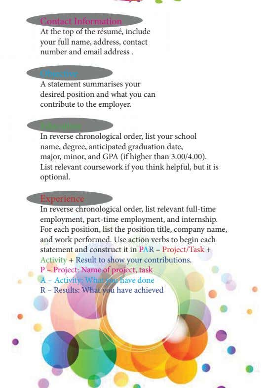 Contact Information At the top of the résumé, include your full name, address, contact number