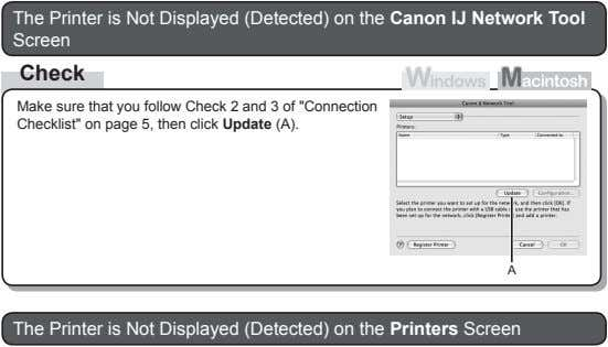 The Printer is Not Displayed (Detected) on the Canon IJ Network Tool Screen Check Make