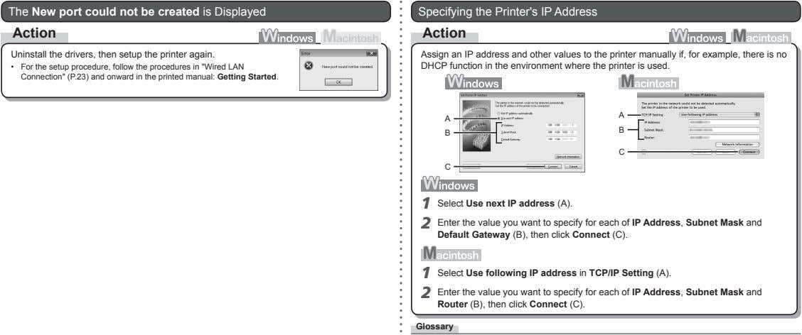 The New port could not be created is Displayed Specifying the Printer's IP Address Action
